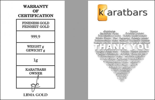 KaratBars | Gold Gift Card - Thank You